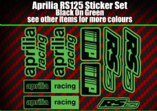 Aprilia RS125 DECALS STICKERS Green & Black  RS 125 Racing IP, 9 piece